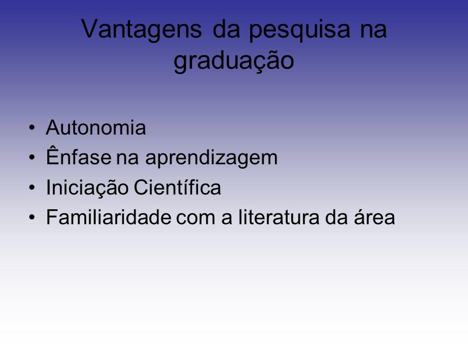 Vantagens da pesquisa na graduação Autonomia Ênfase na aprendizagem Iniciação Científica Familiaridade com a literatura da área