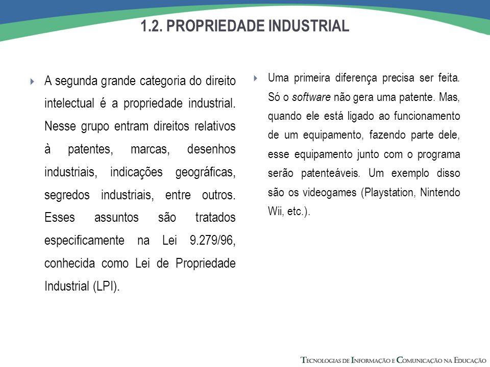 1.2. PROPRIEDADE INDUSTRIAL  A segunda grande categoria do direito intelectual é a propriedade industrial. Nesse grupo entram direitos relativos à pa