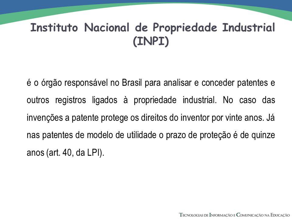 Instituto Nacional de Propriedade Industrial (INPI) é o órgão responsável no Brasil para analisar e conceder patentes e outros registros ligados à pro