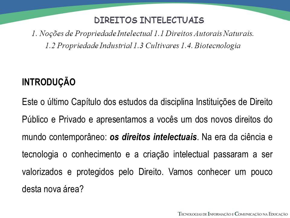 DIREITOS INTELECTUAIS 1. Noções de Propriedade Intelectual 1.1 Direitos Autorais Naturais. 1.2 Propriedade Industrial 1.3 Cultivares 1.4. Biotecnologi