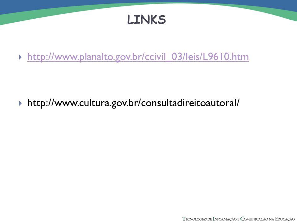 LINKS  http://www.planalto.gov.br/ccivil_03/leis/L9610.htm http://www.planalto.gov.br/ccivil_03/leis/L9610.htm  http://www.cultura.gov.br/consultadi