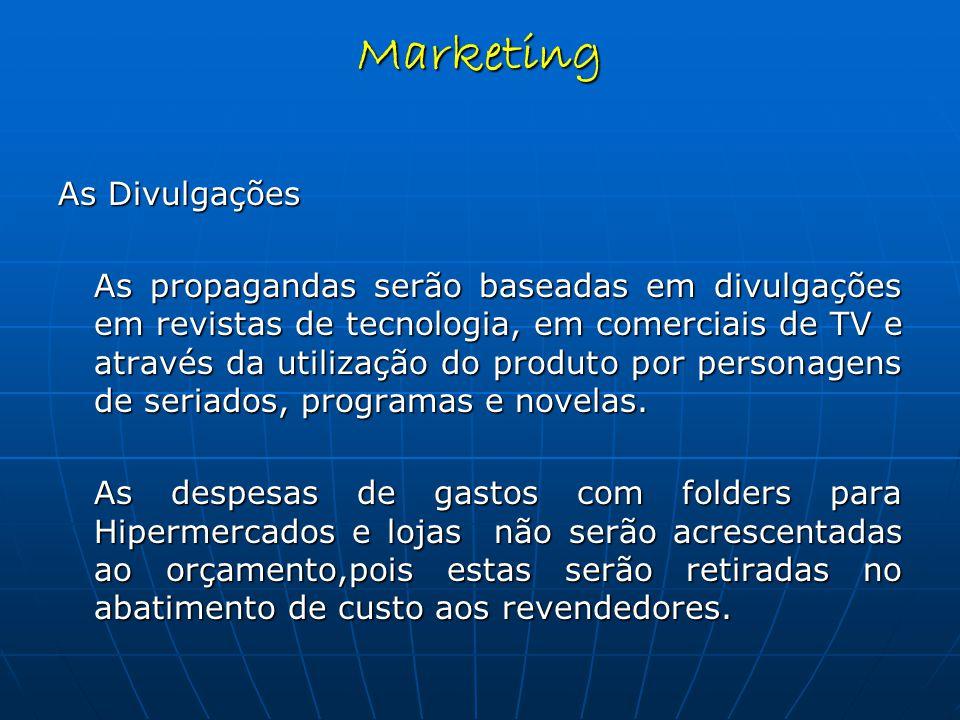 As Divulgações As propagandas serão baseadas em divulgações em revistas de tecnologia, em comerciais de TV e através da utilização do produto por personagens de seriados, programas e novelas.