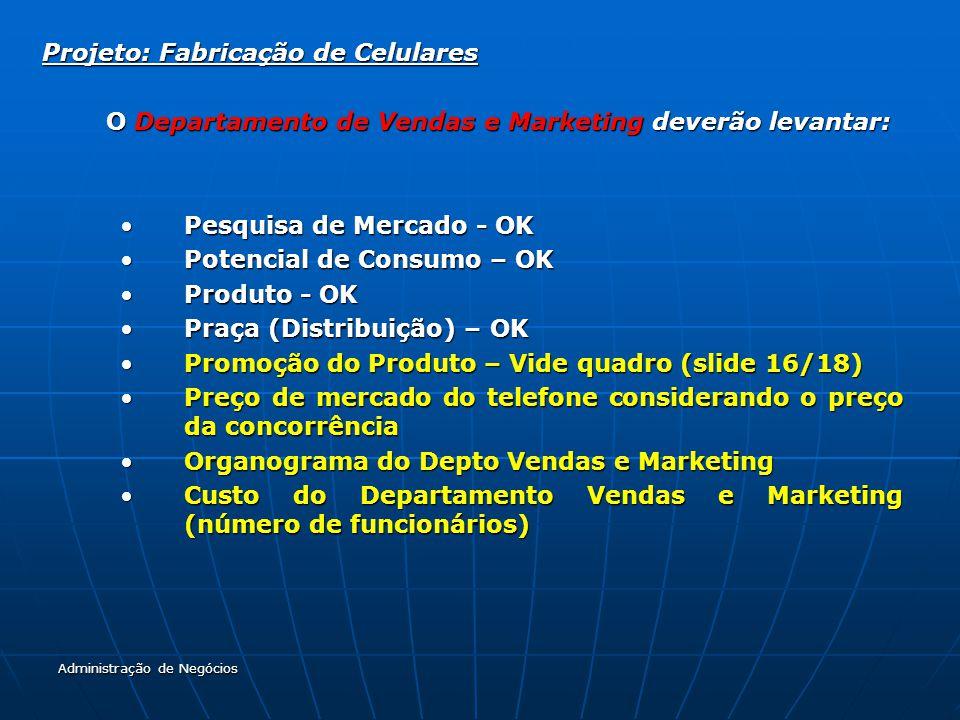 Projeto: Fabricação de Celulares O Departamento de Vendas e Marketing deverão levantar: Pesquisa de Mercado - OKPesquisa de Mercado - OK Potencial de Consumo – OKPotencial de Consumo – OK Produto - OKProduto - OK Praça (Distribuição) – OKPraça (Distribuição) – OK Promoção do Produto – Vide quadro (slide 16/18)Promoção do Produto – Vide quadro (slide 16/18) Preço de mercado do telefone considerando o preço da concorrênciaPreço de mercado do telefone considerando o preço da concorrência Organograma do Depto Vendas e MarketingOrganograma do Depto Vendas e Marketing Custo do Departamento Vendas e Marketing (número de funcionários)Custo do Departamento Vendas e Marketing (número de funcionários) Administração de Negócios