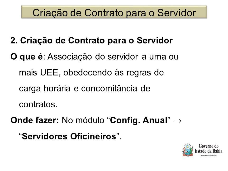 Criação de Contrato para o Servidor 2. Criação de Contrato para o Servidor O que é: Associação do servidor a uma ou mais UEE, obedecendo às regras de