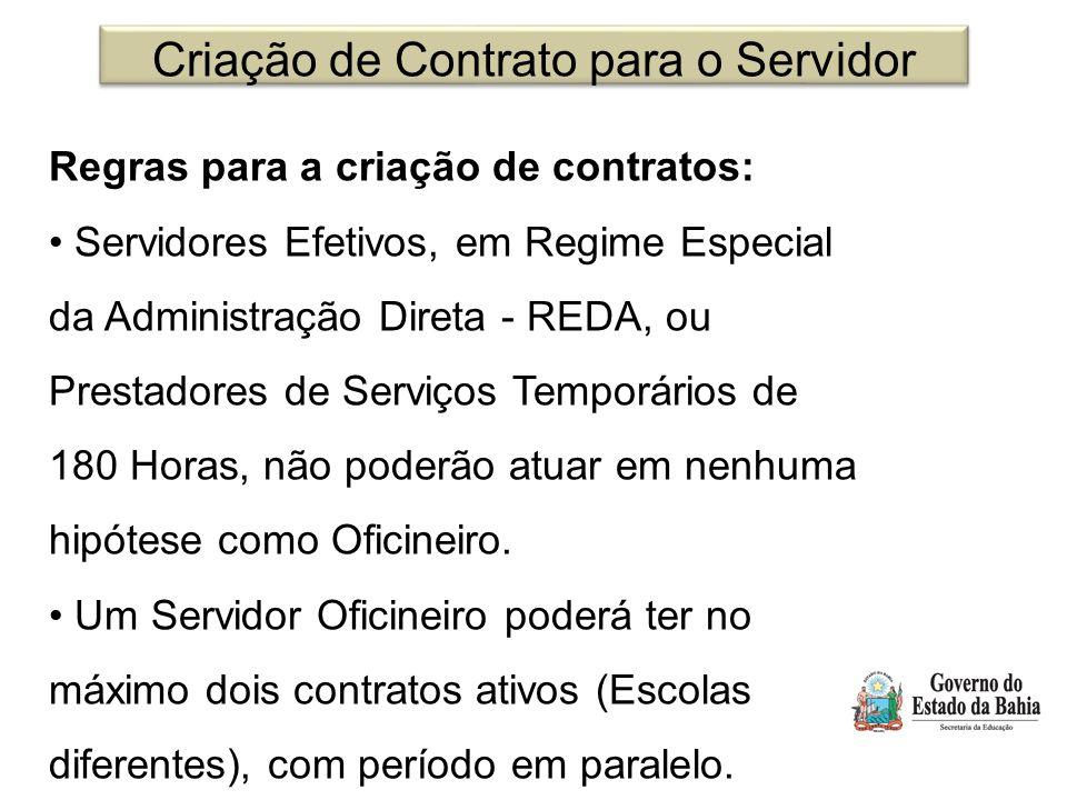 Criação de Contrato para o Servidor Regras para a criação de contratos: Servidores Efetivos, em Regime Especial da Administração Direta - REDA, ou Pre