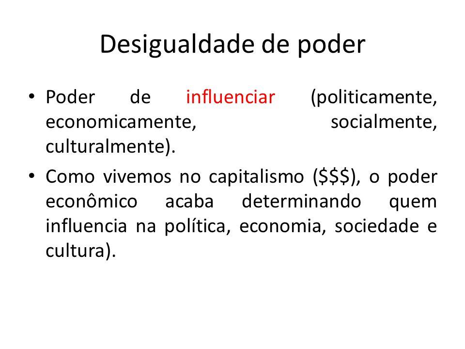 Poder de influenciar (politicamente, economicamente, socialmente, culturalmente). Como vivemos no capitalismo ($$$), o poder econômico acaba determina