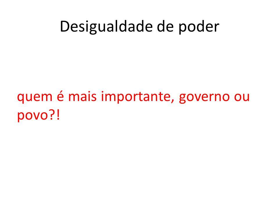 Desigualdade de poder quem é mais importante, governo ou povo?!