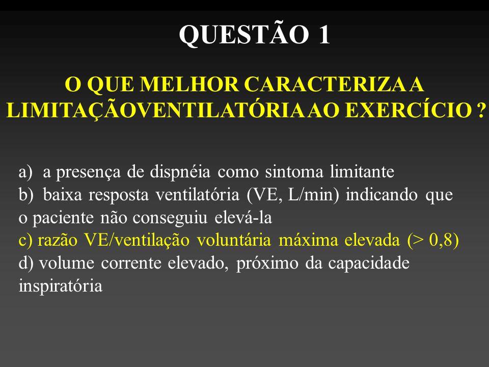 O QUE MELHOR CARACTERIZA A LIMITAÇÃOVENTILATÓRIA AO EXERCÍCIO .