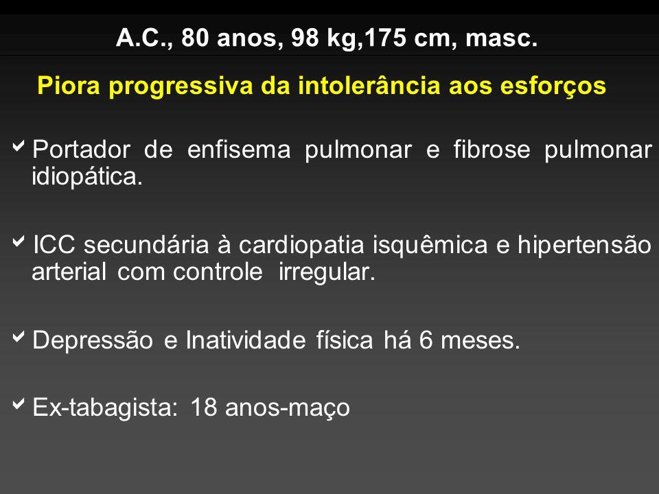 A.C., 80 anos, 98 kg,175 cm, masc. Portador de enfisema pulmonar e fibrose pulmonar idiopática.