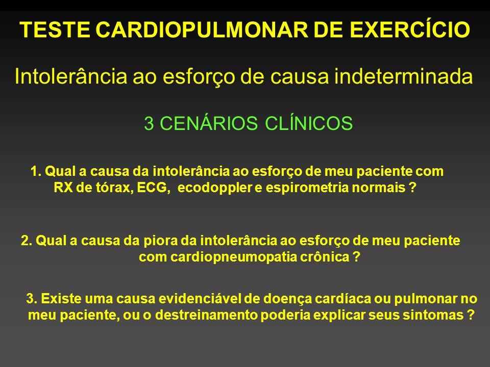TESTE CARDIOPULMONAR DE EXERCÍCIO 3 CENÁRIOS CLÍNICOS 1.