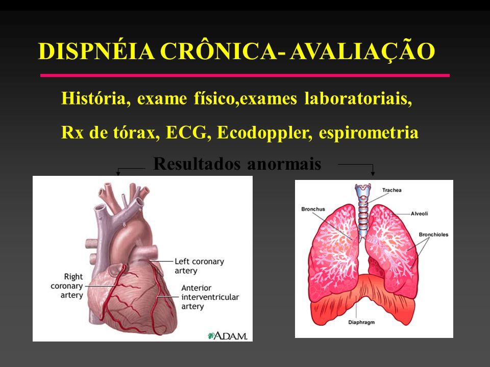 DISPNÉIA CRÔNICA- AVALIAÇÃO História, exame físico,exames laboratoriais, Rx de tórax, ECG, Ecodoppler, espirometria Resultados anormais