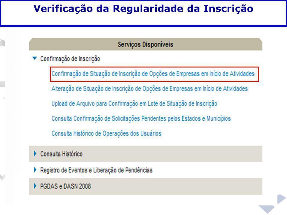 Fundamentação legal Verificação da Regularidade da Inscrição