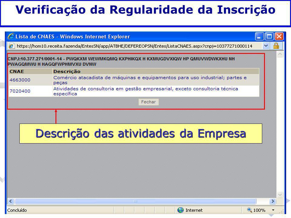 Fundamentação legal Descrição das atividades da Empresa Verificação da Regularidade da Inscrição