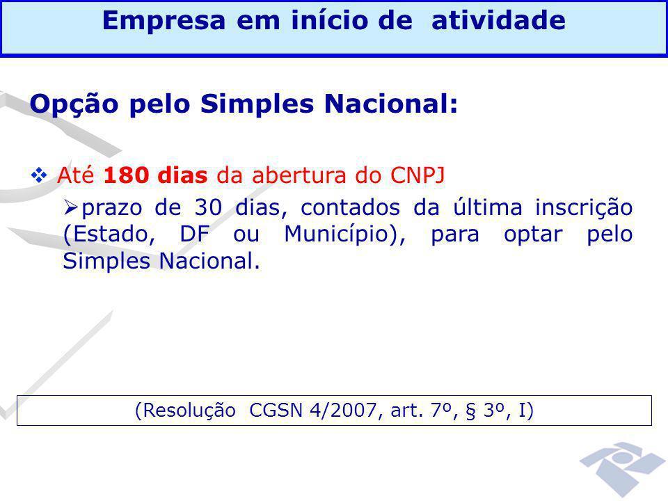 Opção pelo Simples Nacional:  Até 180 dias da abertura do CNPJ  prazo de 30 dias, contados da última inscrição (Estado, DF ou Município), para optar