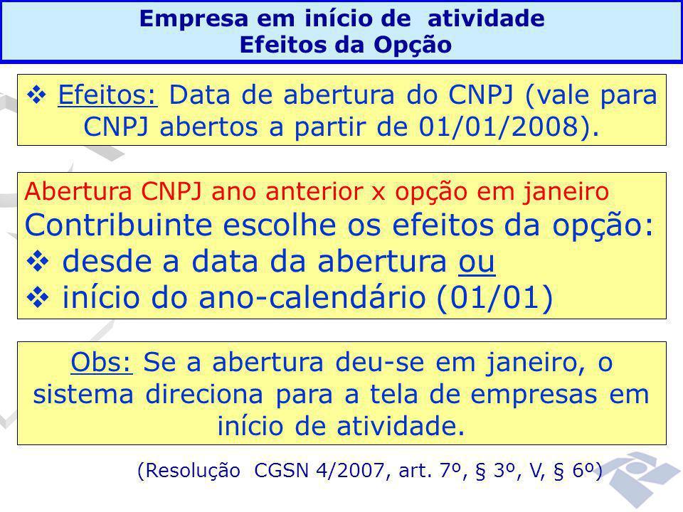 Empresa em início de atividade Efeitos da Opção Abertura CNPJ ano anterior x opção em janeiro Contribuinte escolhe os efeitos da opção:  desde a data