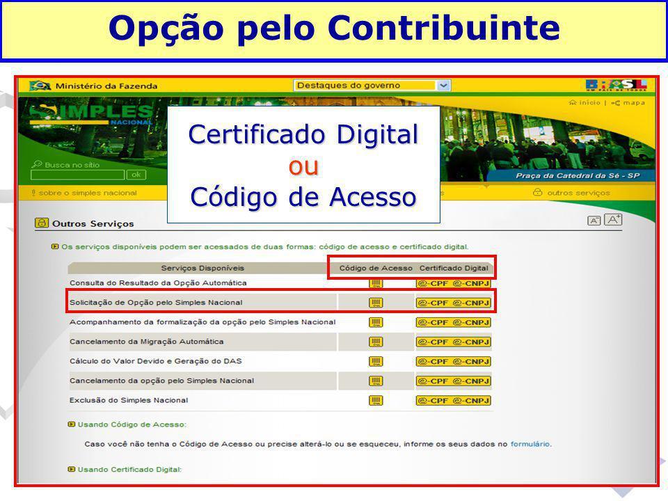 Fundamentação legal Opção pelo Contribuinte Certificado Digital ou Código de Acesso