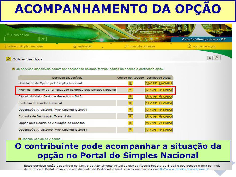 ACOMPANHAMENTO DA OPÇÃO O contribuinte pode acompanhar a situação da opção no Portal do Simples Nacional