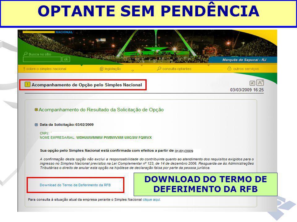 OPTANTE SEM PENDÊNCIA DOWNLOAD DO TERMO DE DEFERIMENTO DA RFB