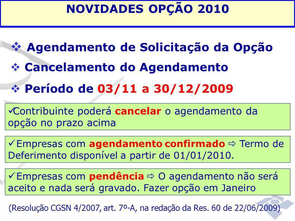  Agendamento de Solicitação da Opção  Cancelamento do Agendamento  Período de 03/11 a 30/12/2009 NOVIDADES OPÇÃO 2010 Contribuinte poderá cancelar
