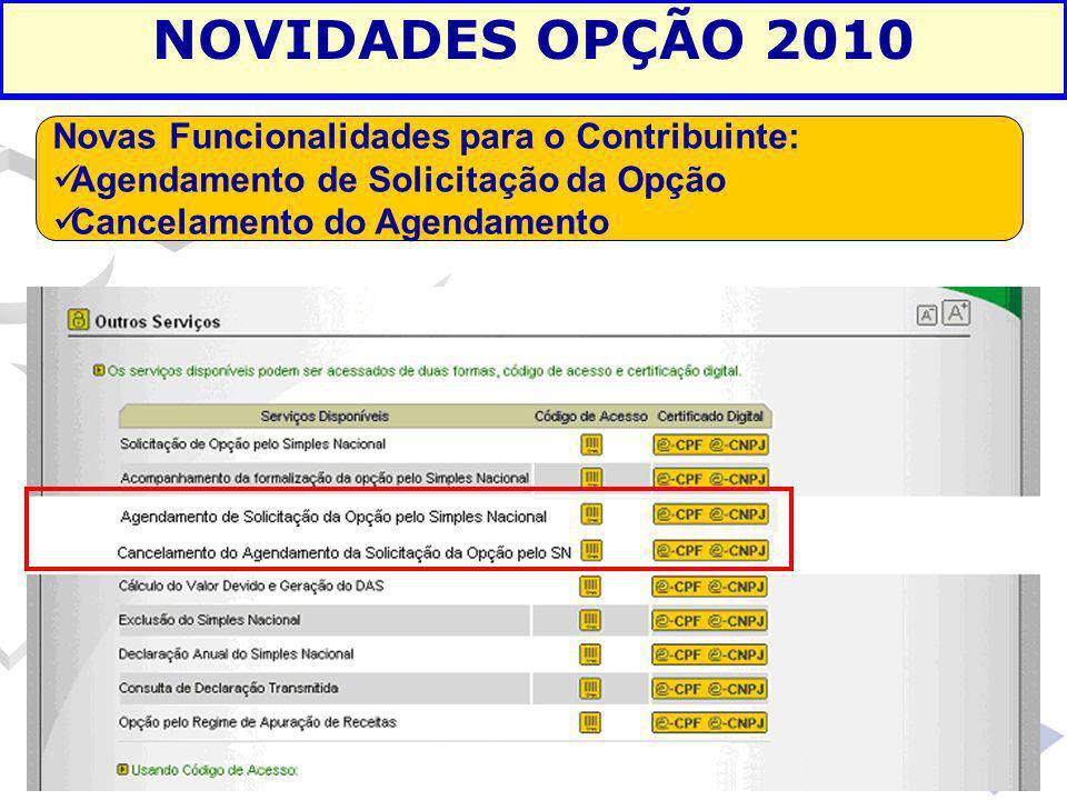 NOVIDADES OPÇÃO 2010 Novas Funcionalidades para o Contribuinte: Agendamento de Solicitação da Opção Cancelamento do Agendamento