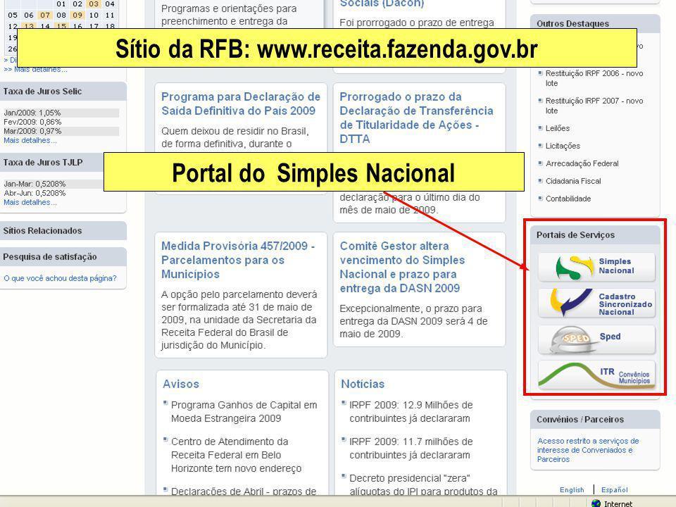 Portal do Simples Nacional Sítio da RFB: www.receita.fazenda.gov.br