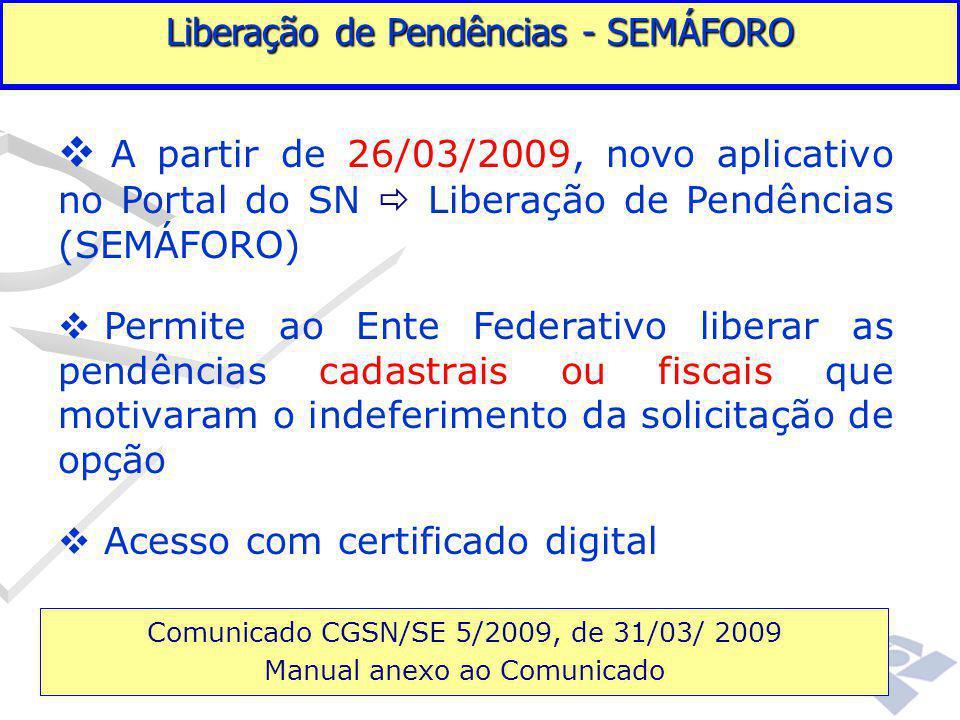 Fundamentação legal  A partir de 26/03/2009, novo aplicativo no Portal do SN  Liberação de Pendências (SEMÁFORO)  Permite ao Ente Federativo libera