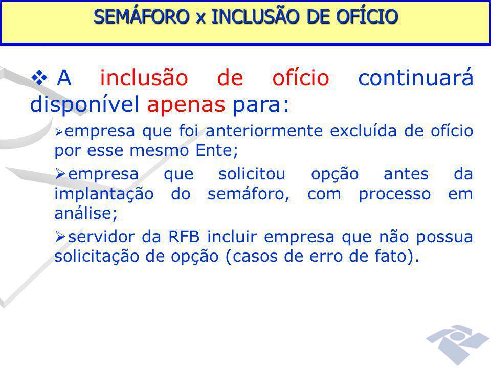 Fundamentação legal  A inclusão de ofício continuará disponível apenas para:  empresa que foi anteriormente excluída de ofício por esse mesmo Ente;