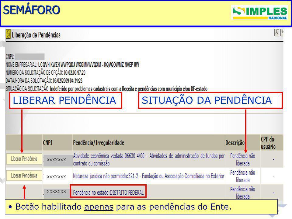 SEMÁFORO XXXXXXX LIBERAR PENDÊNCIASITUAÇÃO DA PENDÊNCIA Botão habilitado apenas para as pendências do Ente.