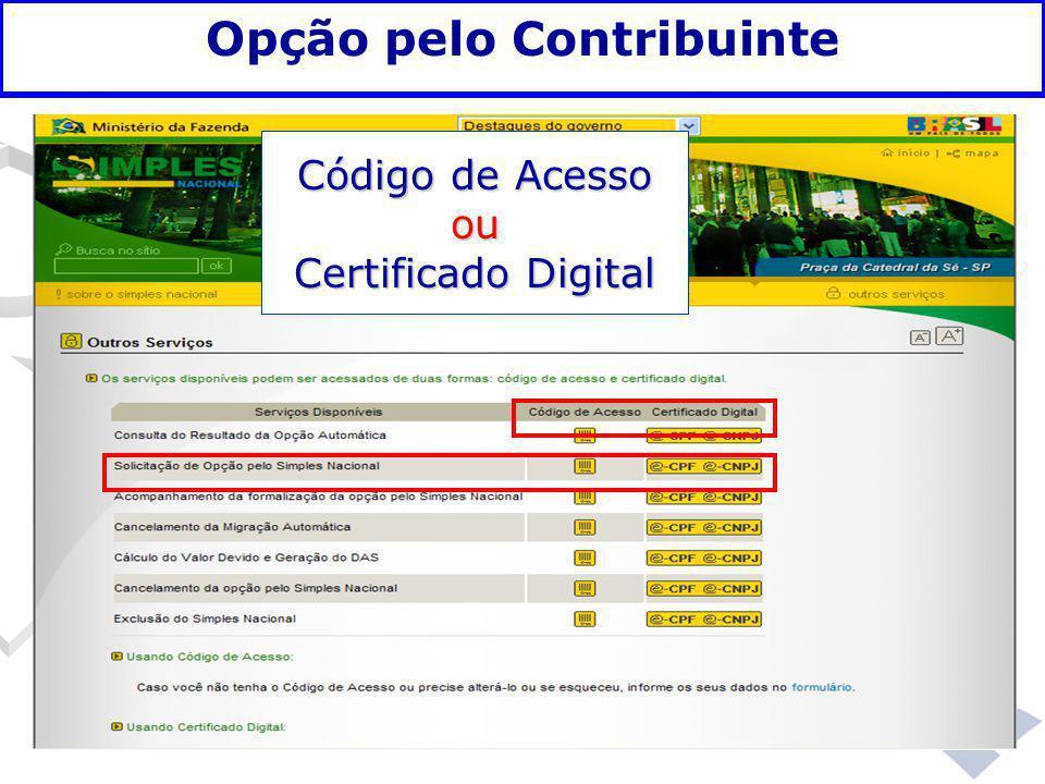 Fundamentação legal Opção pelo Contribuinte Código de Acesso ou Certificado Digital