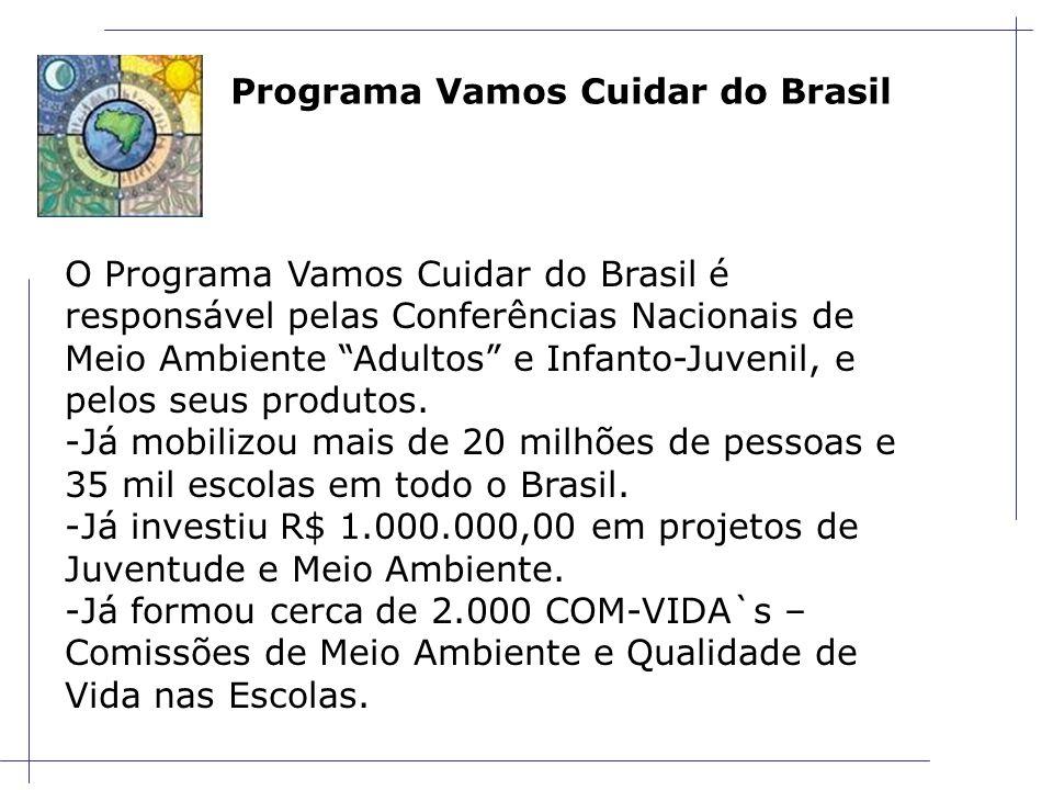 Programa Vamos Cuidar do Brasil O Programa Vamos Cuidar do Brasil é responsável pelas Conferências Nacionais de Meio Ambiente Adultos e Infanto-Juvenil, e pelos seus produtos.