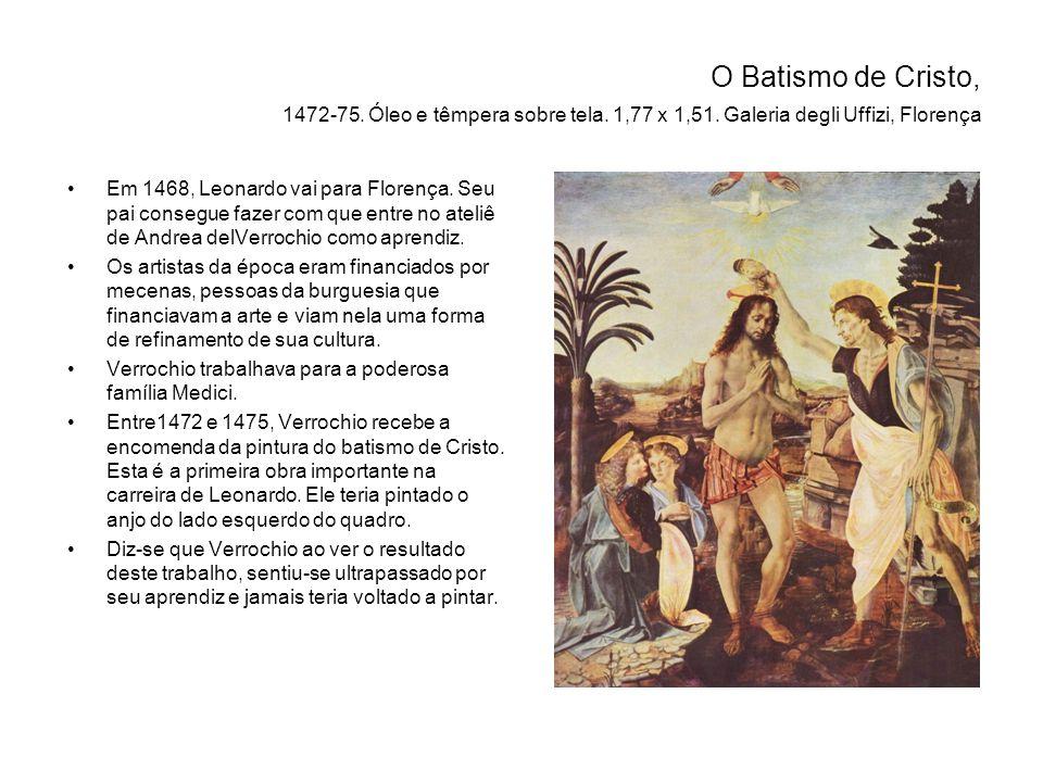 O Batismo de Cristo, 1472-75.Óleo e têmpera sobre tela.