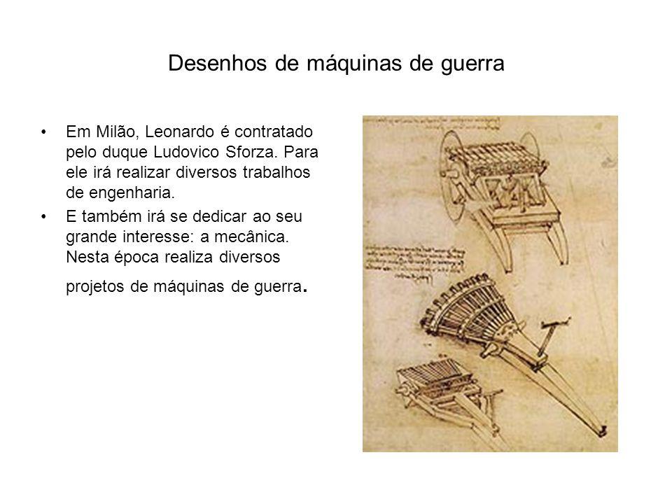 Desenhos de máquinas de guerra Em Milão, Leonardo é contratado pelo duque Ludovico Sforza.