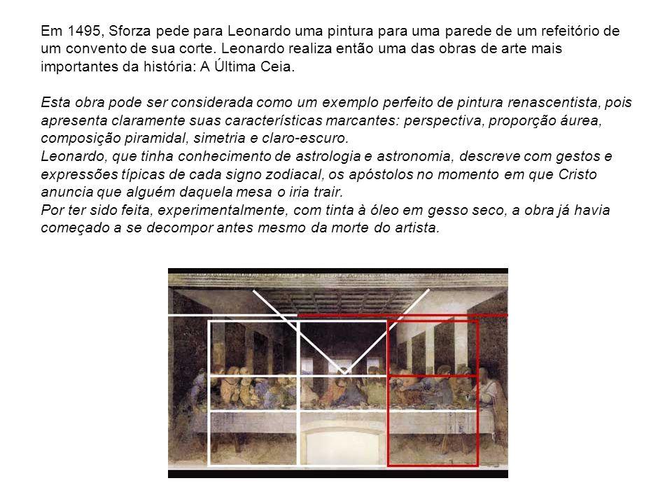 Em 1495, Sforza pede para Leonardo uma pintura para uma parede de um refeitório de um convento de sua corte.