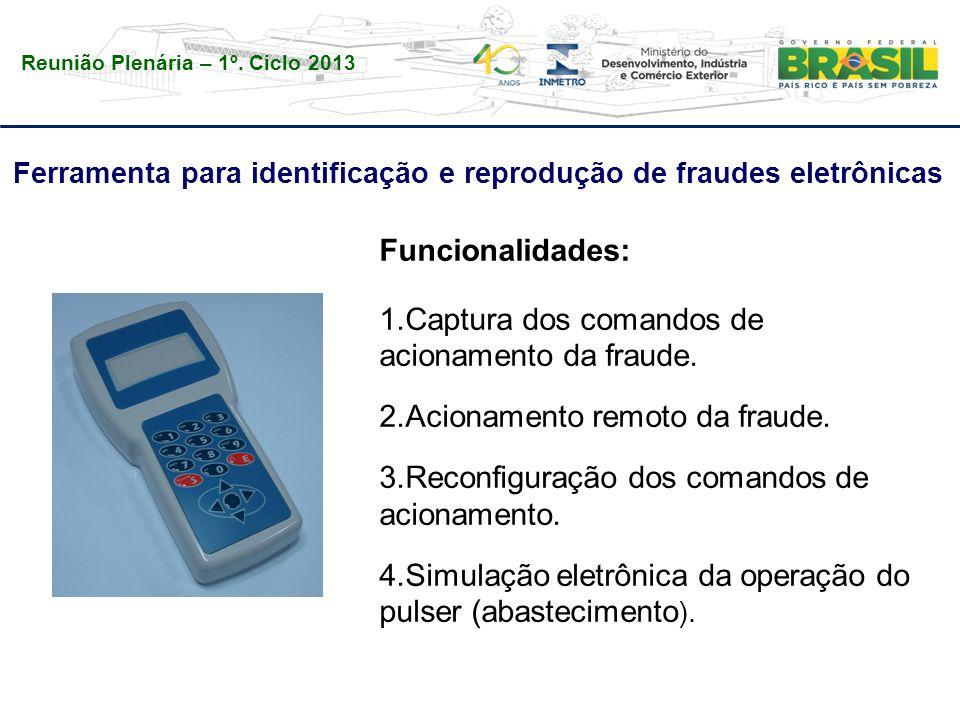 Reunião Plenária – 1º. Ciclo 2013 Ferramenta para identificação e reprodução de fraudes eletrônicas Funcionalidades: 1.Captura dos comandos de acionam
