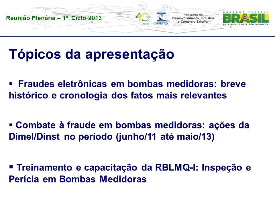 Reunião Plenária – 1º. Ciclo 2013 Tópicos da apresentação  Fraudes eletrônicas em bombas medidoras: breve histórico e cronologia dos fatos mais relev