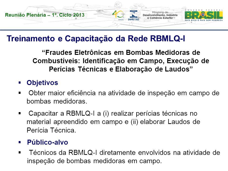 """Reunião Plenária – 1º. Ciclo 2013 Treinamento e Capacitação da Rede RBMLQ-I """"Fraudes Eletrônicas em Bombas Medidoras de Combustíveis: Identificação em"""