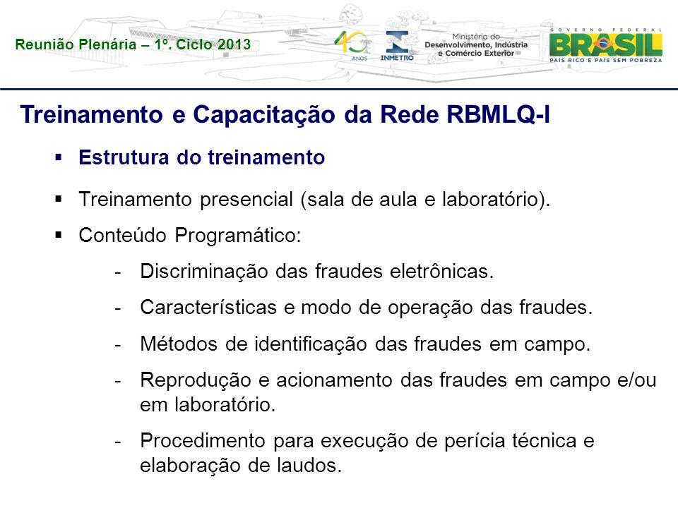 Reunião Plenária – 1º. Ciclo 2013 Treinamento e Capacitação da Rede RBMLQ-I  Estrutura do treinamento  Treinamento presencial (sala de aula e labora
