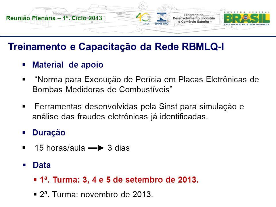 Reunião Plenária – 1º. Ciclo 2013 Treinamento e Capacitação da Rede RBMLQ-I  Duração  15 horas/aula ▬ ► 3 dias  Data  1ª. Turma: 3, 4 e 5 de setem
