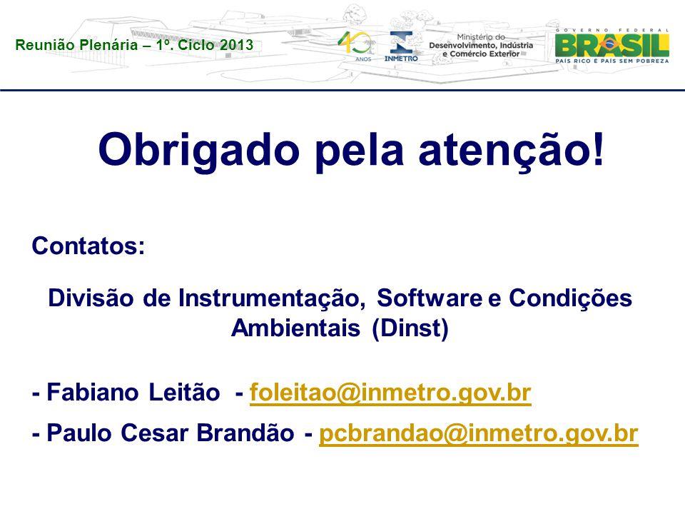 Reunião Plenária – 1º. Ciclo 2013 Contatos: Divisão de Instrumentação, Software e Condições Ambientais (Dinst) - Fabiano Leitão - foleitao@inmetro.gov