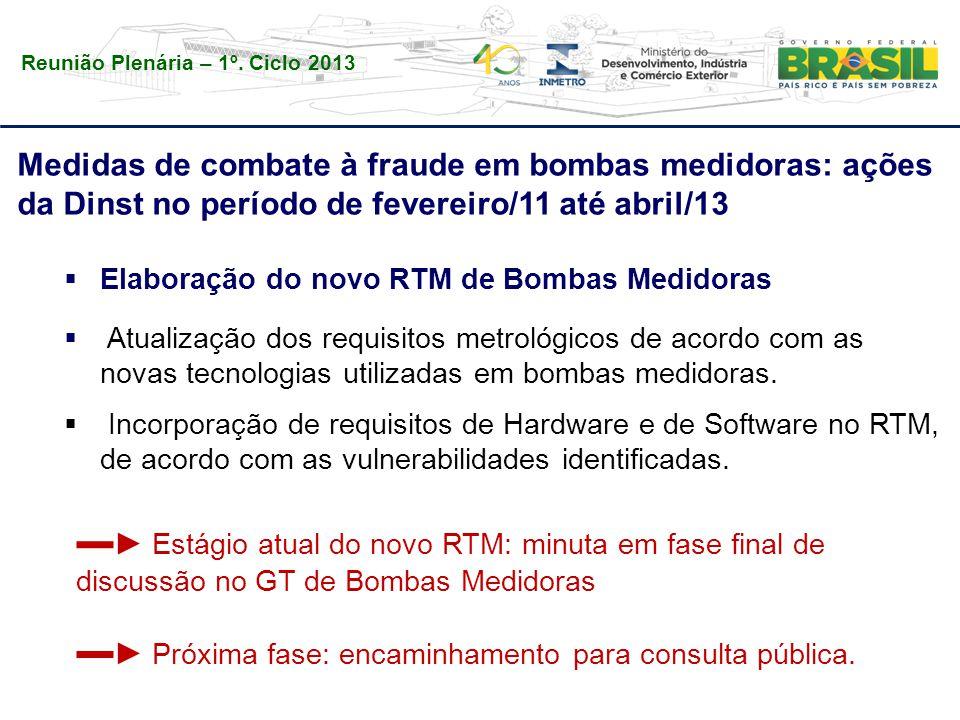 Reunião Plenária – 1º. Ciclo 2013 Medidas de combate à fraude em bombas medidoras: ações da Dinst no período de fevereiro/11 até abril/13  Elaboração