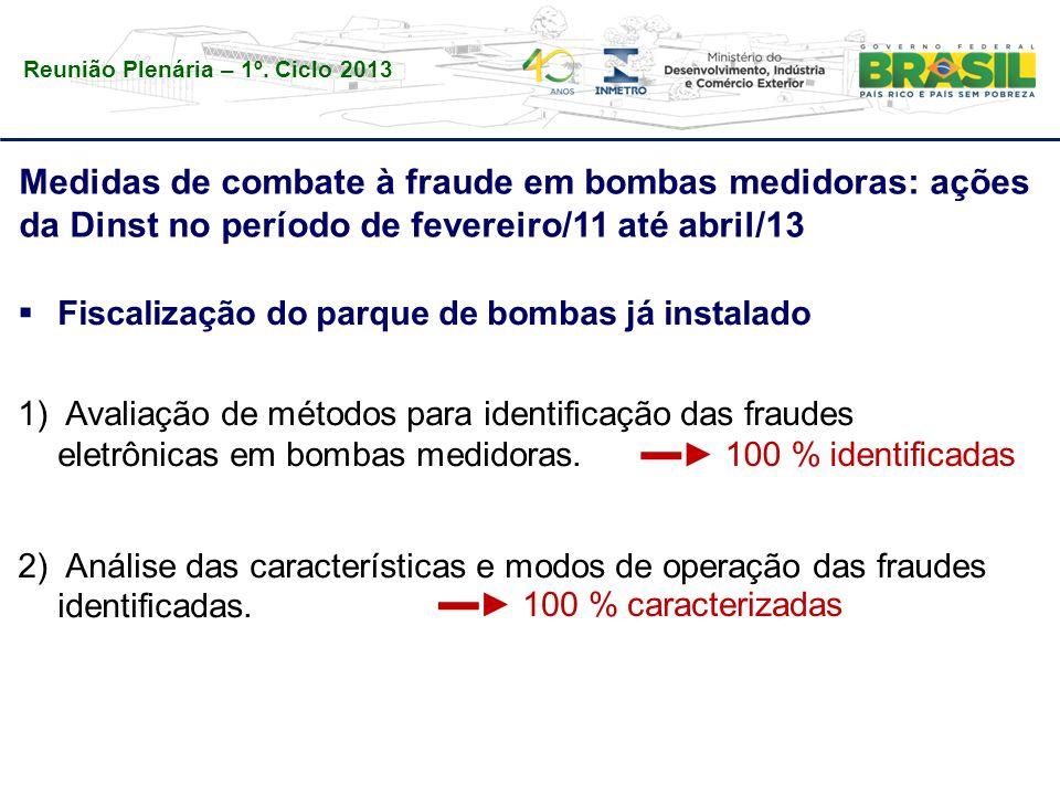 Reunião Plenária – 1º. Ciclo 2013 Medidas de combate à fraude em bombas medidoras: ações da Dinst no período de fevereiro/11 até abril/13  Fiscalizaç