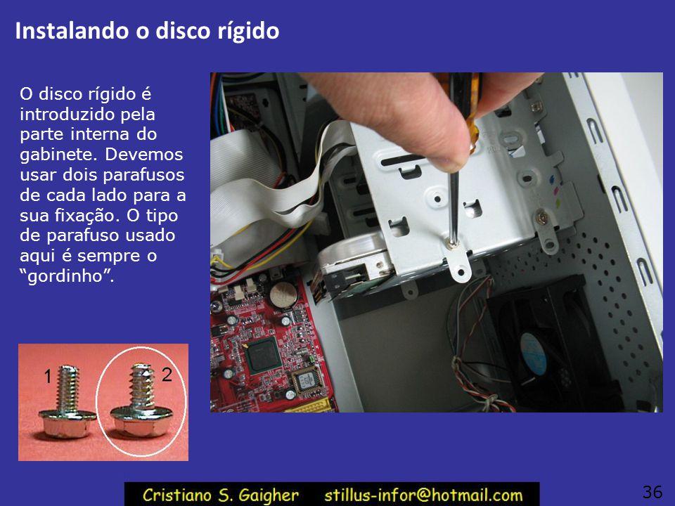 Instalação do disco rígido 35