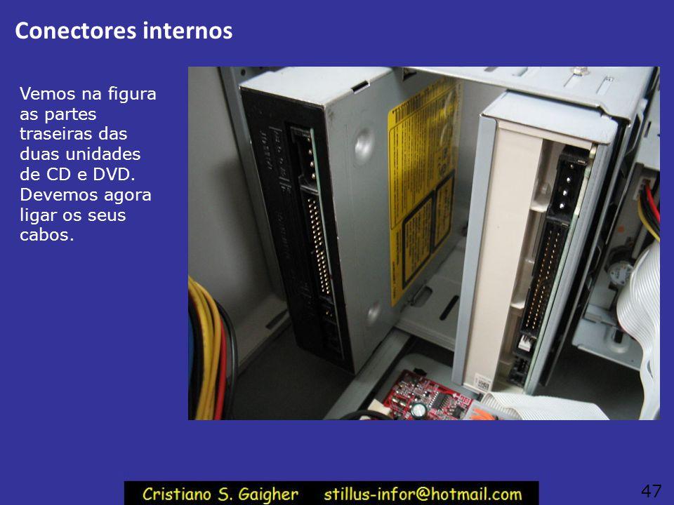 """Aparafuse as unidades de CD/DVD Use dois parafusos de cada lado nas unidades de CD e DVD. Deve ser usado o parafuso """"magrinho"""". 46"""