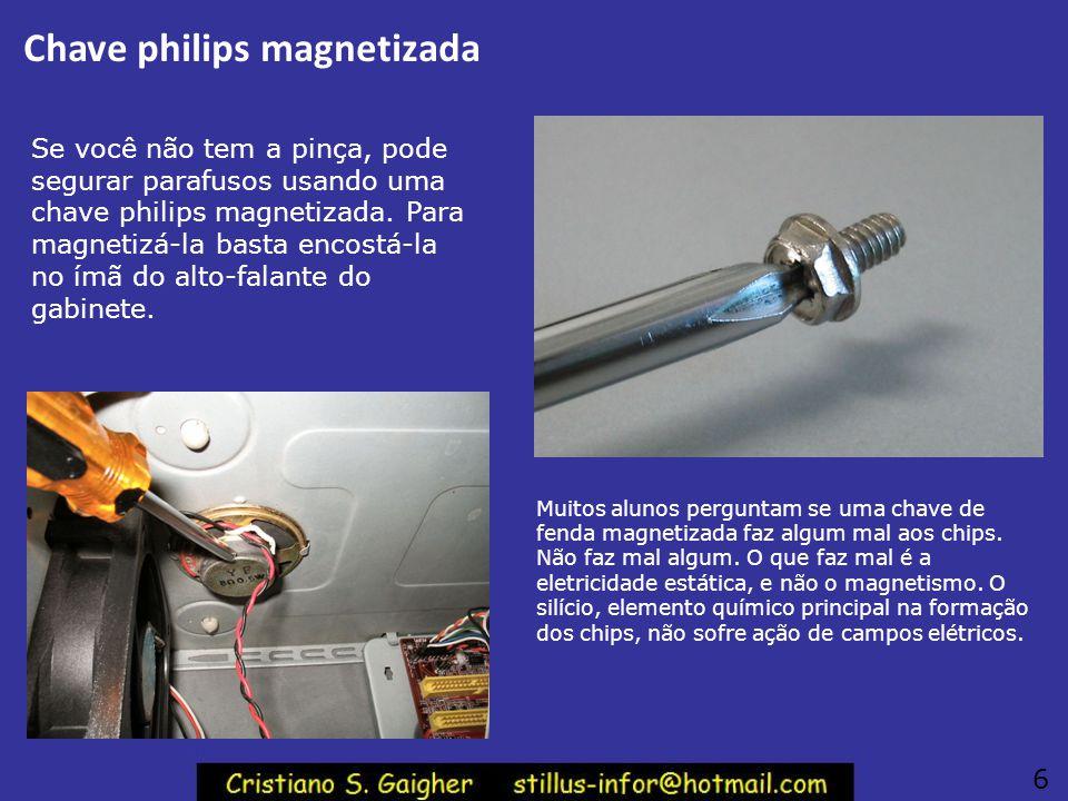Pinça para segurar parafusos Você pode segurar os parafusos com maior facilidade usando uma pinca como a mostrada ao lado. Esta pinça é encontrada nos