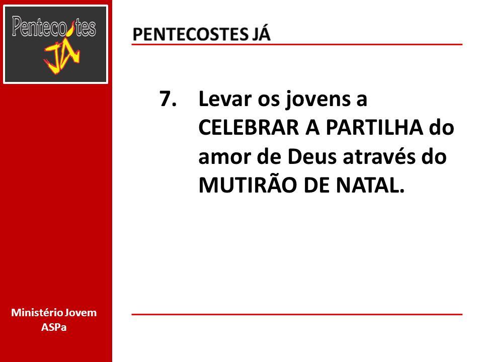 Ministério Jovem ASPa 7.Levar os jovens a CELEBRAR A PARTILHA do amor de Deus através do MUTIRÃO DE NATAL.