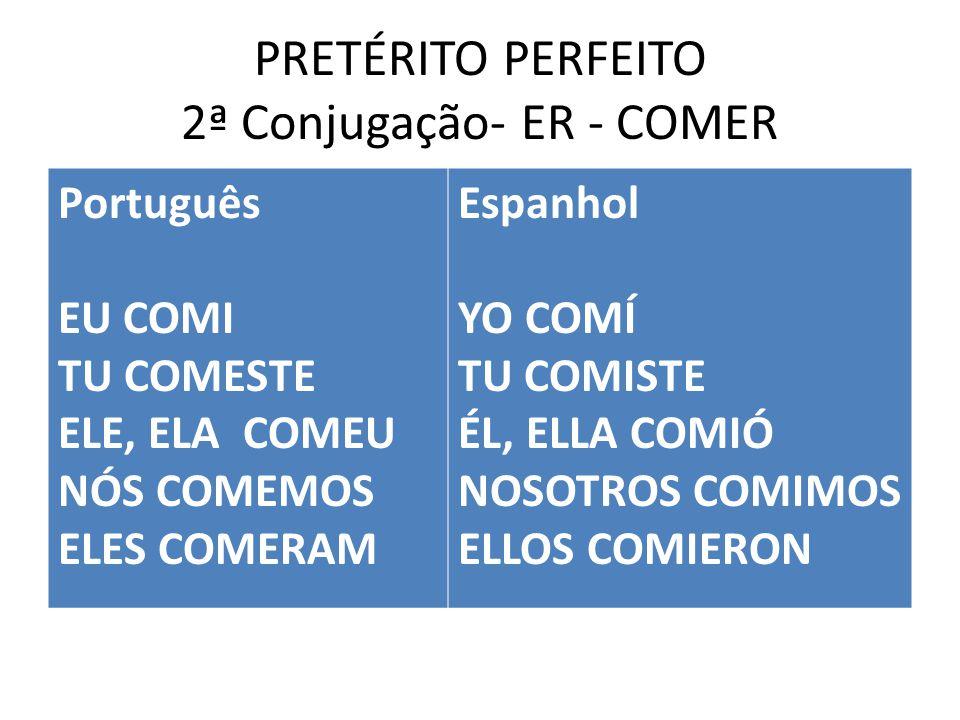 PRETÉRITO PERFEITO 2ª Conjugação- ER - COMER Português EU COMI TU COMESTE ELE, ELA COMEU NÓS COMEMOS ELES COMERAM Espanhol YO COMÍ TU COMISTE ÉL, ELLA COMIÓ NOSOTROS COMIMOS ELLOS COMIERON