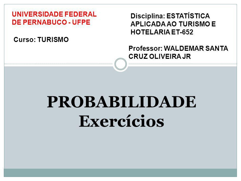 PROBABILIDADE Exercícios Disciplina: ESTATÍSTICA APLICADA AO TURISMO E HOTELARIA ET-652 Professor: WALDEMAR SANTA CRUZ OLIVEIRA JR UNIVERSIDADE FEDERA