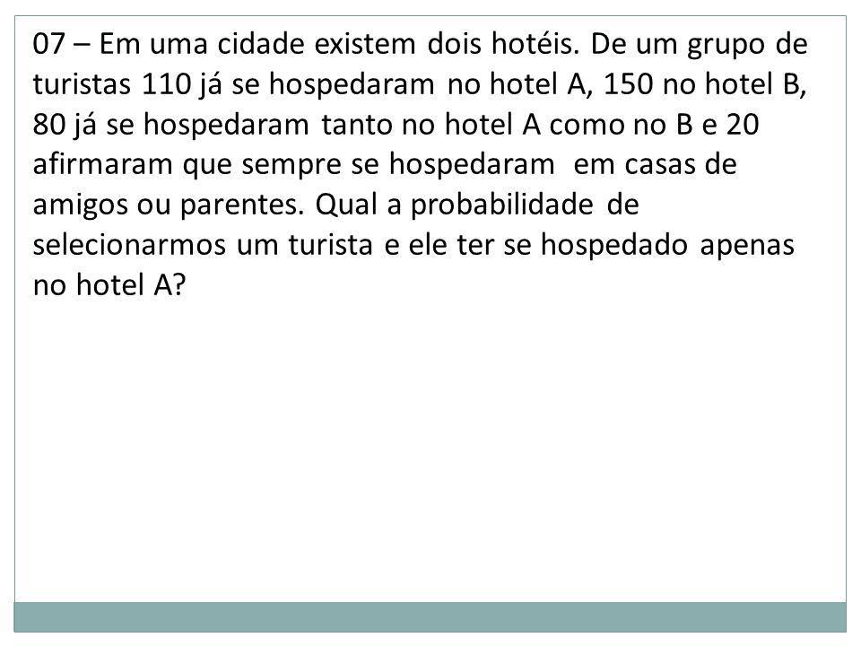 07 – Em uma cidade existem dois hotéis. De um grupo de turistas 110 já se hospedaram no hotel A, 150 no hotel B, 80 já se hospedaram tanto no hotel A