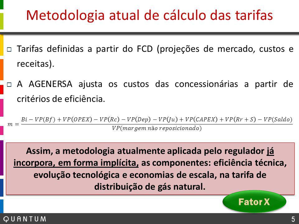 5  Tarifas definidas a partir do FCD (projeções de mercado, custos e receitas).  A AGENERSA ajusta os custos das concessionárias a partir de critéri