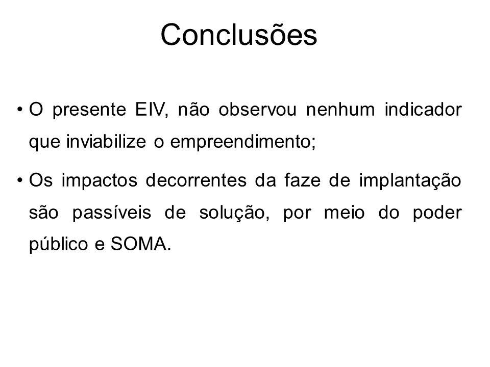 Conclusões O presente EIV, não observou nenhum indicador que inviabilize o empreendimento; Os impactos decorrentes da faze de implantação são passívei